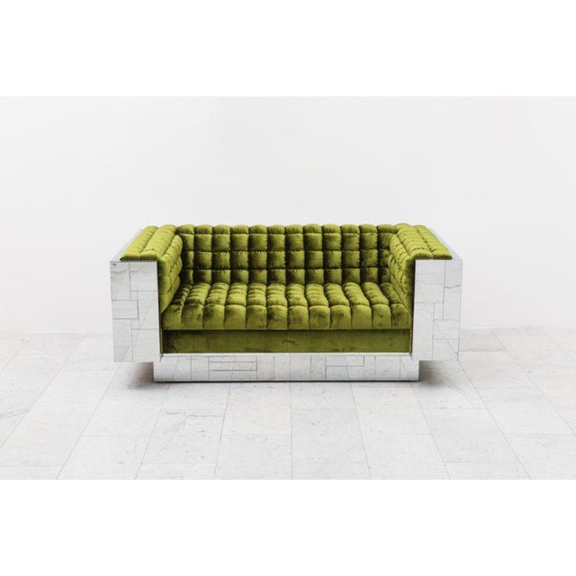 """This sofa was made by the Paul Evans Studio for Directional as part of the Cityscape series in 1970. A """"box"""" sofa, the..."""