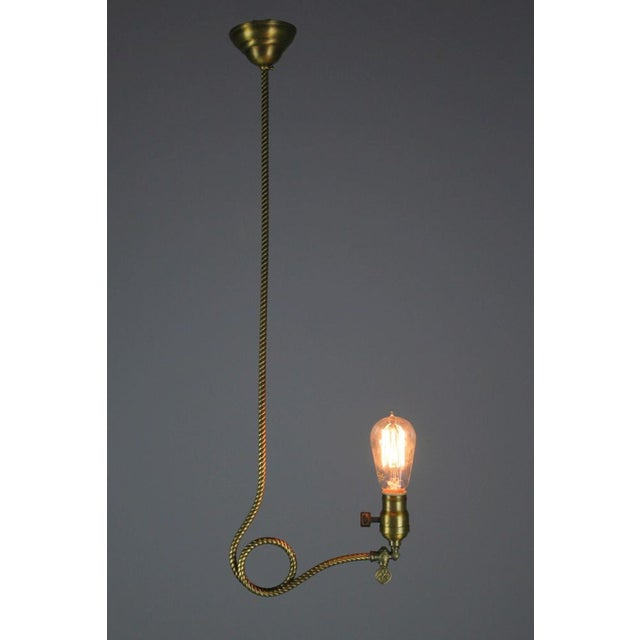 Rare Industrial Converted Gas-Electric Pendant with Engraved Stem - Image 4 of 7