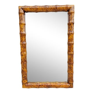 Decorative Tortoise Faux Bamboo Mirror For Sale