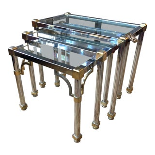 Regency Style Chrome and Glass Nesting Tables