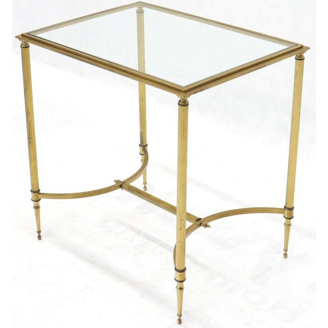 Pair of Solid Brass Glass Tops Stretcher Janson Style End Occasional Tables For Sale - Image 12 of 13