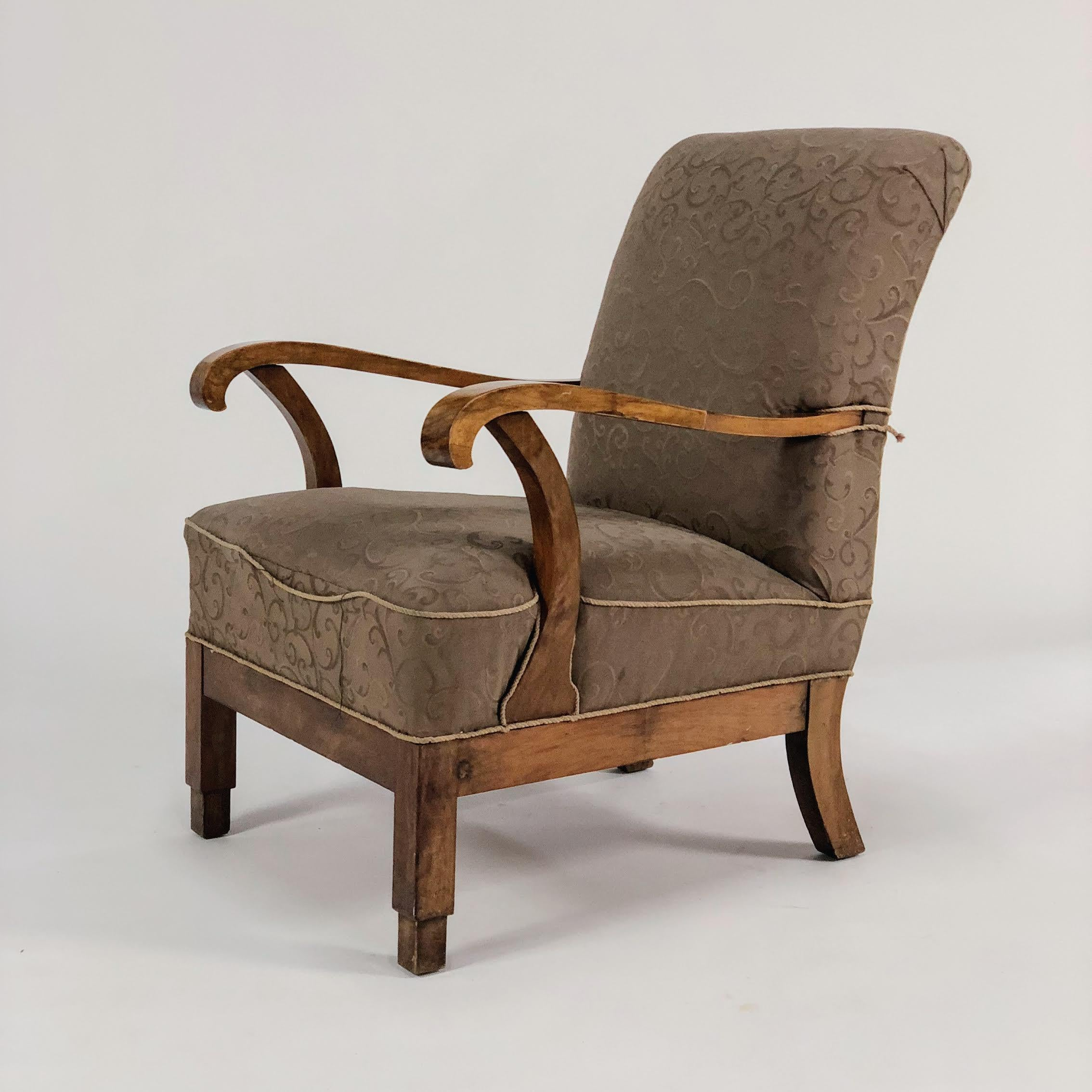 Fabric 1920s Art Deco Lounge Chair For Sale   Image 7 Of 7