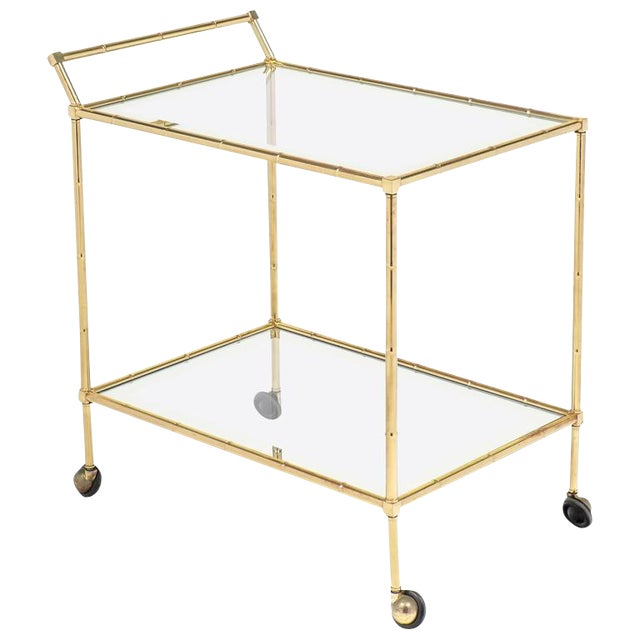 Maison Bagues Faux Bamboo Brass Bar Cart or Trolley For Sale