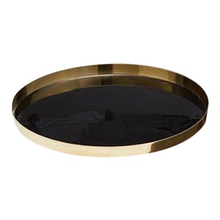 Small Black and Gold Lacquered Tray For Sale