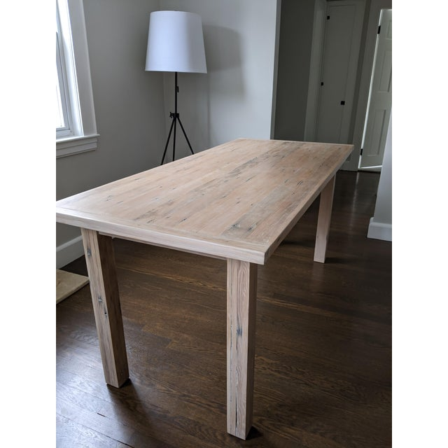 European Style Modern Farmhouse Reclaimed Wood Dining Table or XL Desk For Sale - Image 4 of 12