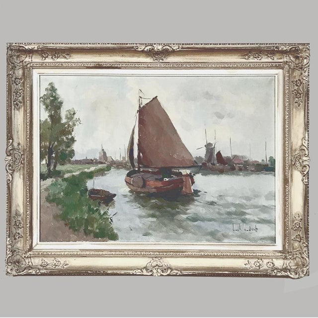 Antique Framed Oil Painting on Canvas For Sale - Image 13 of 13