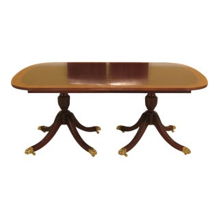 1990s Vintage Councill Craftsmen Banded Mahogany Duncan Phyfe Dining Table For Sale