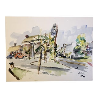 2003 BC Stein Cityscape Watercolor Painting For Sale