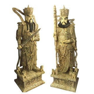 Life Size Buddhist Temple Carved Bone Warrior Statues - A Pair