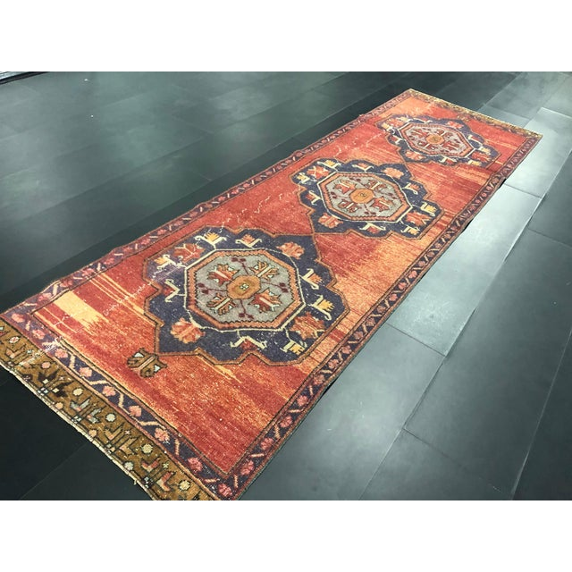 Textile Boho Decorative Orange and Purple Turkish Handmade Vintage Runner Rug For Sale - Image 7 of 11