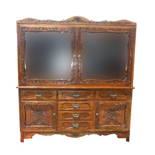 Spanish Style Ornately Carved Hutch China Cabinet Mission Arts For Sale