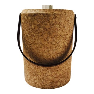 1970's Mid-Century Modern Cork and Lucite Tall Ice Bucket For Sale