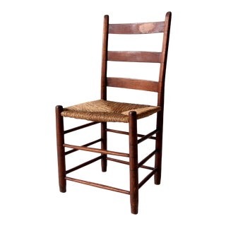 Antique Rush Seat Chair With Ladder Back For Sale