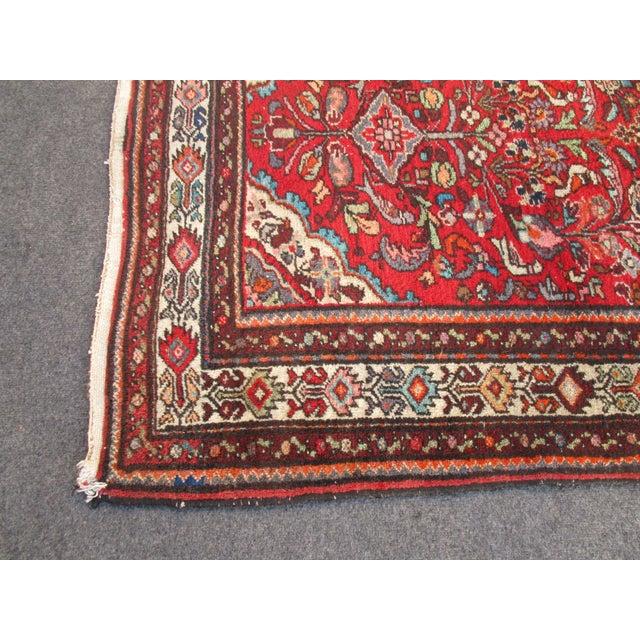 Vintage Red Floral Wool Persian Rug - 3′1″ × 6′1″ - Image 10 of 11