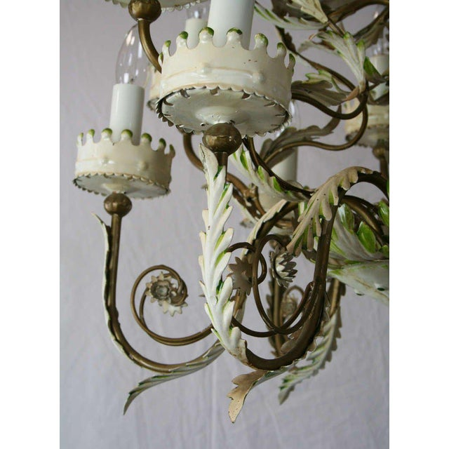 Large Italian Tole Chandelier For Sale - Image 4 of 6
