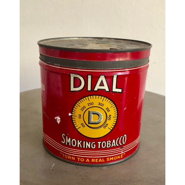 Mid-Century Modern Vintage Tobacco Tin With Labels For Sale - Image 3 of 10
