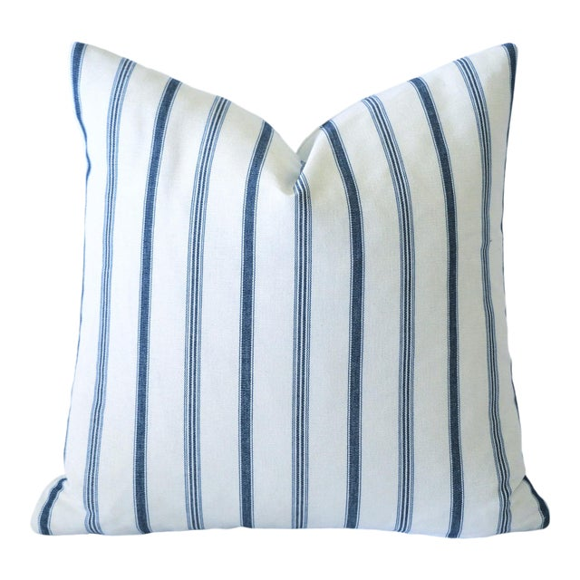 French Blue Mattress Ticking Pillow Cover 20x20 For Sale In Los Angeles - Image 6 of 6