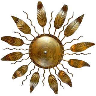 1940s French Gilded Sunburst Ceiling Light For Sale