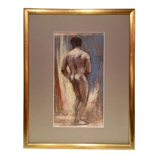 1960s Vintage Emilio Serio Male Nude Signed Pastel Painting For Sale