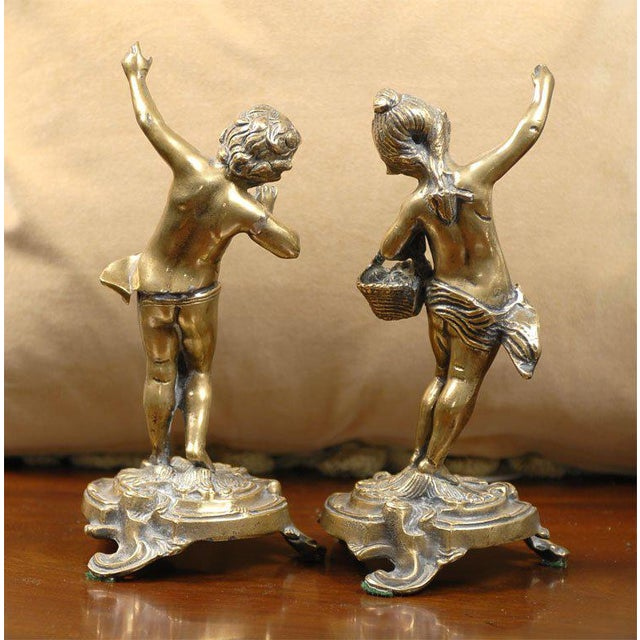 French Bronze Rococo Figurines - a Pair For Sale - Image 4 of 11