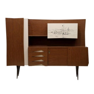 Piero Fornasetti Styled 1950s Italian Mid-Century Modern Formica Front Sideboard For Sale