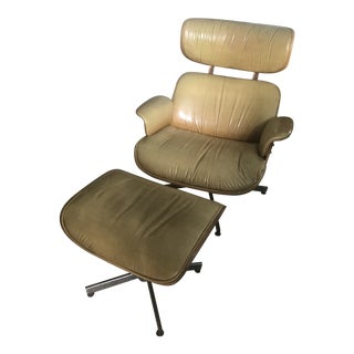 1960s Vintage Eames Style Chair and Ottoman For Sale