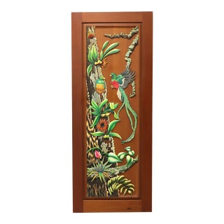 Hand Carved & Painted Honduras Mahogany Door / Panel - Tropical Foliage & Birds For Sale