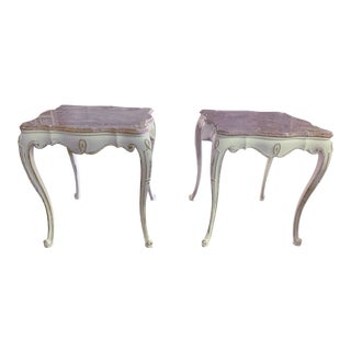 Vintage French Louis XV Style Pink Marble Distressed Country Cottage Marble Top Tables - a Pair For Sale