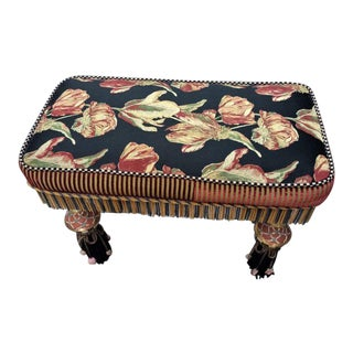 1980s Vintage MacKenzie Childs Floral Bench For Sale