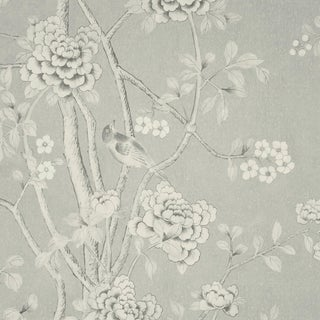 Sample - Schumacher X Mary McDonald Chinois Palais Wallpaper in Grisaille For Sale
