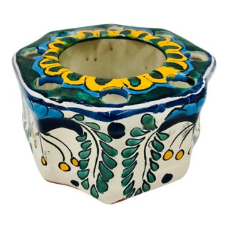 Vintage Hand Painted Mexican Flower Vase For Sale
