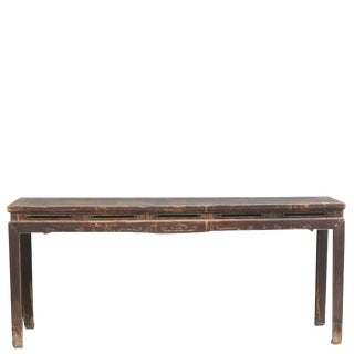 19th Century Asian Antique Console Table with Simple Carved Apron