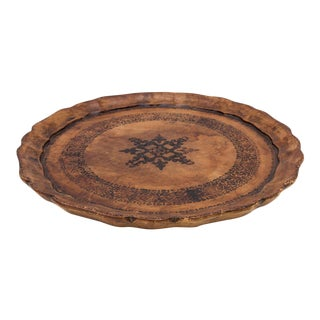Florentine Serving Tray in Tooled Leather For Sale