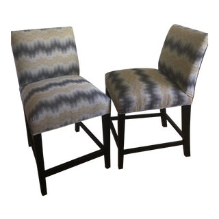 Ethan Allen Custom Upholstered Counter Chairs - A Pair For Sale