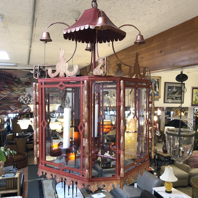 Vintage Chinoiserie Lantern Pendant For Sale - Image 4 of 13