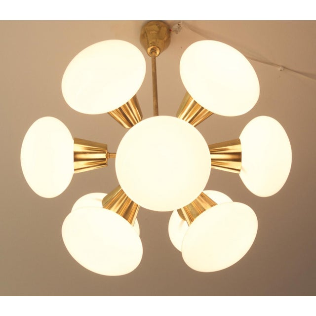 Gold Mid-Century Sputnik Frosted Glass Chandelier, 1960s For Sale - Image 8 of 10