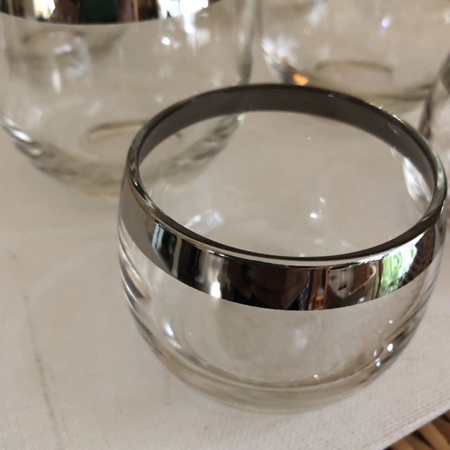 Modern 1970s Vintage Collection of Dorothy Thorpe Glasses Silver Rim- Set of 6 For Sale - Image 3 of 9