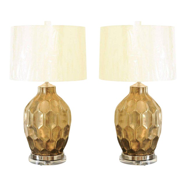 Exceptional Restored Pair of Vintage Large-Scale Faceted Ceramic Lamps For Sale