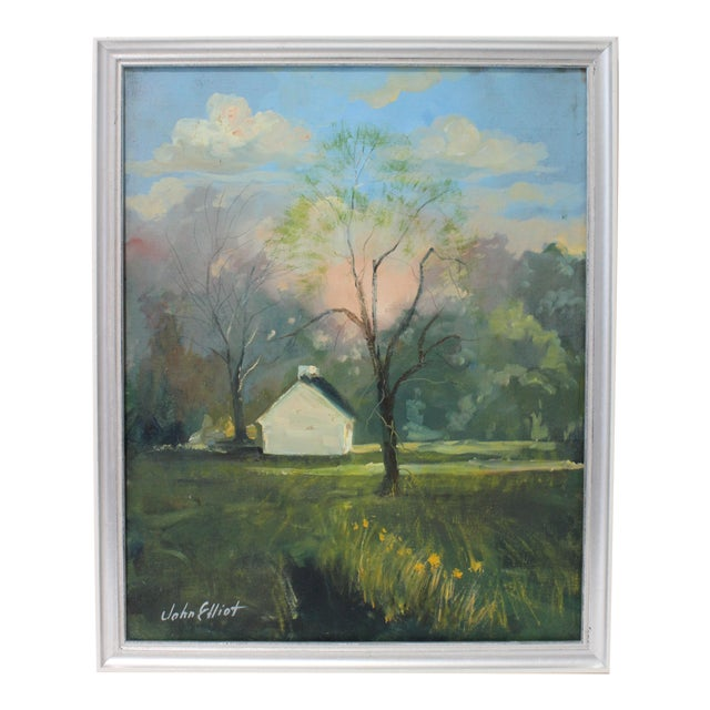 """Vintage Oil Painting """"Kentucky Homestead"""" With Coa by Listed Artist John Elliot, Opa. For Sale"""