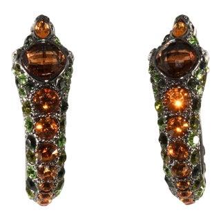 Kenneth Jay Lane Rhinestone Snake Earrings Kjl For Sale