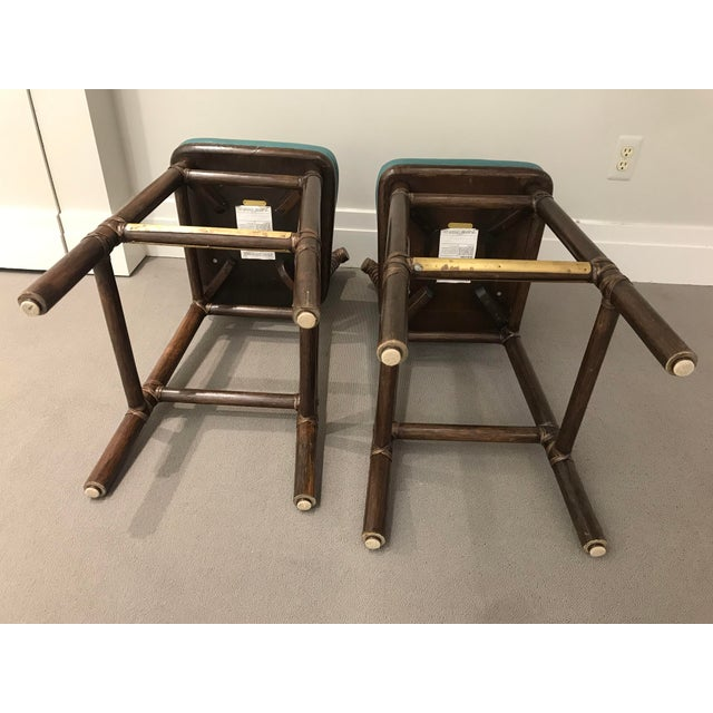 Teal Leather Like McGuire Bar Stools - a Pair For Sale - Image 9 of 12