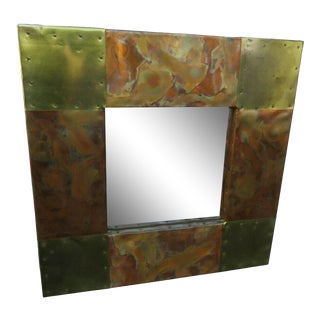 Brutalist Paul Evans Style Mid Century Modern Small Metal Wall Mirror For Sale