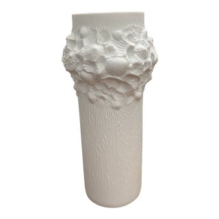 "1970s White Bisque Vase ""Fossil Design"" by Kaiser For Sale"