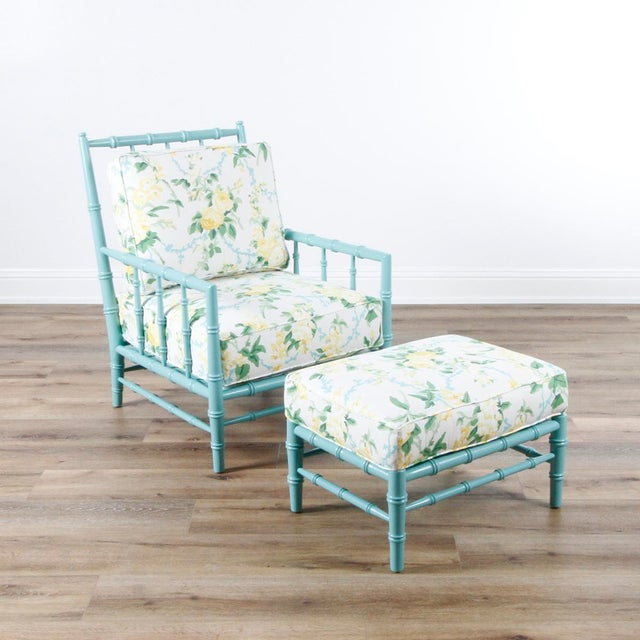 2010s Transitional Sky Blue and White Floral Cottonwood Ottoman For Sale - Image 5 of 7