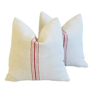 "Custom French Red Striped Grain Sack Feather/Down Pillows 20"" Square - Pair"