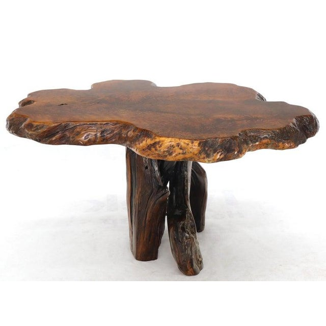 Burl Wood Natural Free Edge Slab Top Gueridon Center Table For Sale - Image 11 of 12