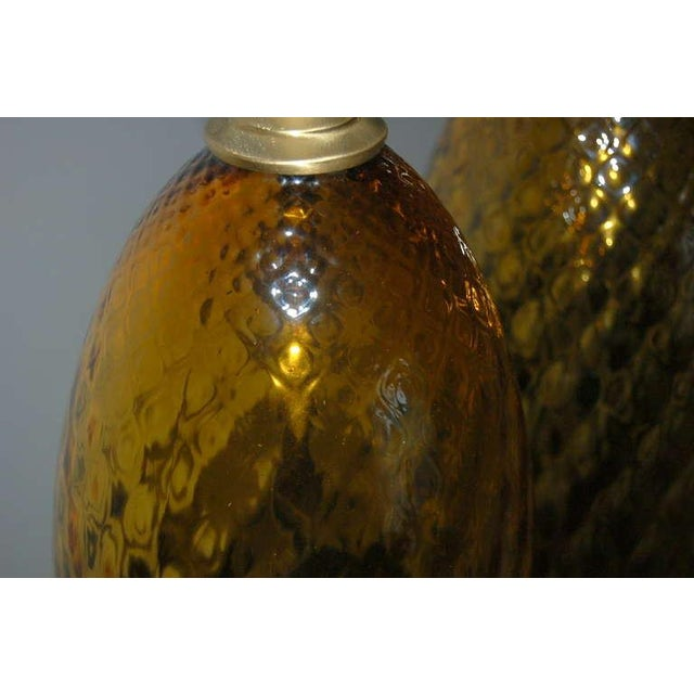 Blown Glass Vintage Italian Glass Table Lamps Butterscotch For Sale - Image 7 of 9