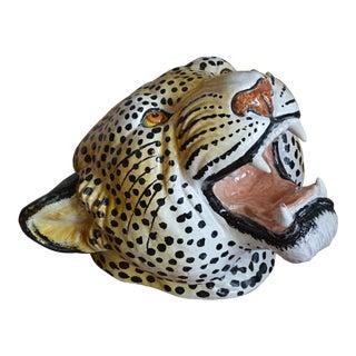 Mid Century Italian Majolica Leopard Head