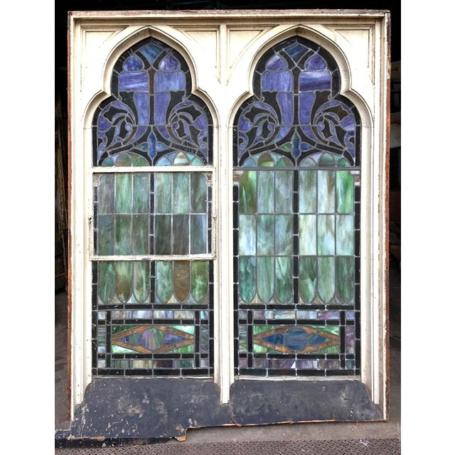 Traditional Late 19th Century Multicolored Stained Glass Window For Sale - Image 3 of 4