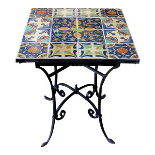 1920s Spanish Wrought Iron Tile Top Table For Sale